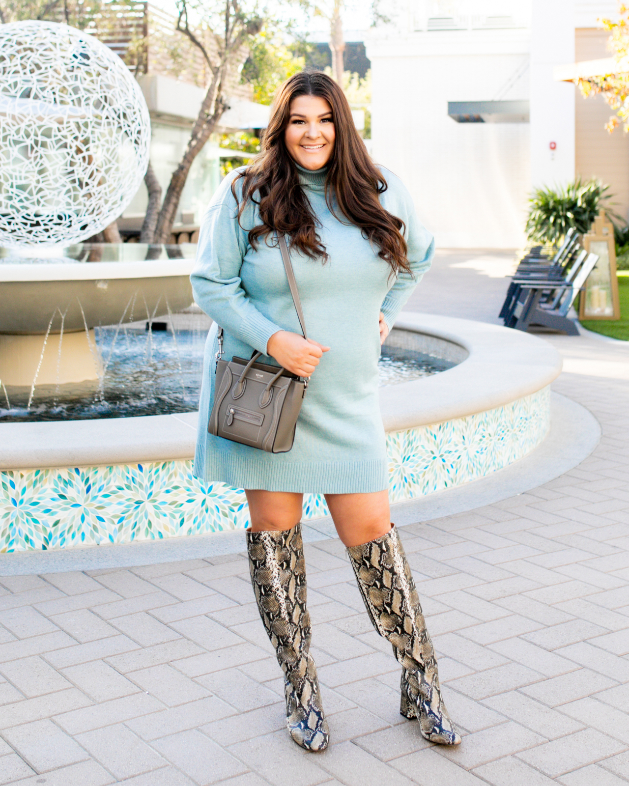 Plus Size Sweater Dress Blue