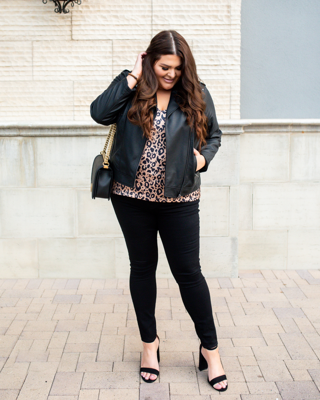 plus size affordable fall fashion leather jacket